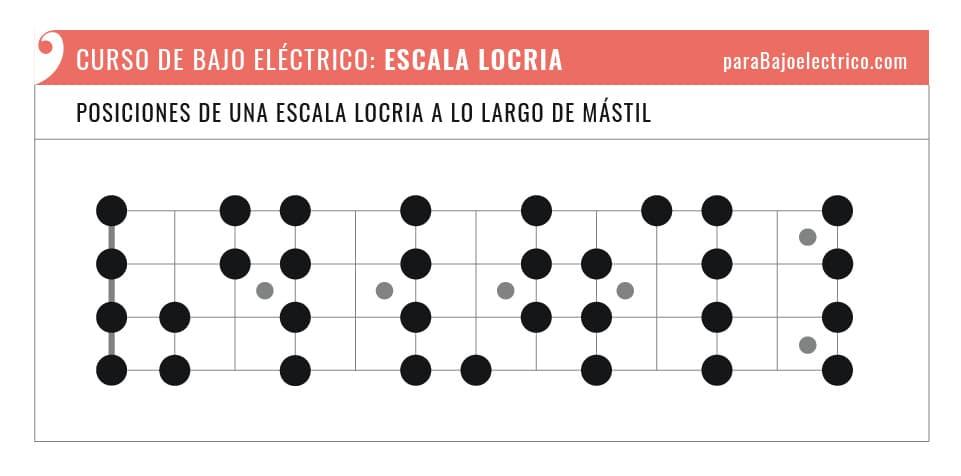 Posiciones de una escala Locria para bajo eléctrico