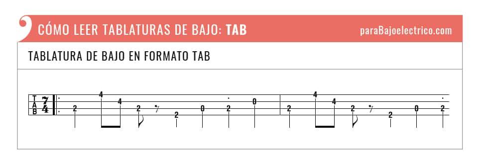 Tipo de tablatura de bajo en formato TAB