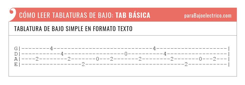 Tipo de tablatura de bajo en formato texto
