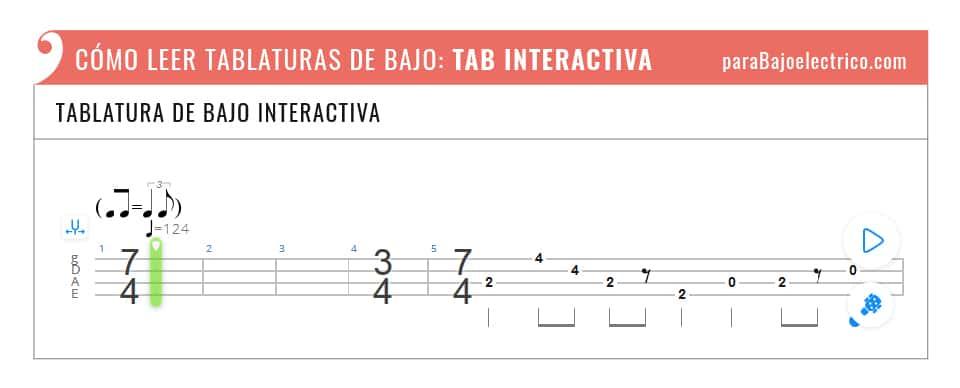 Tipo de tablatura de bajo interactiva
