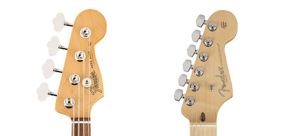 Número de cuerdas de un bajo y una guitarra